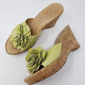 Born Floral Clog Sandals Open Toe Wedge Slides